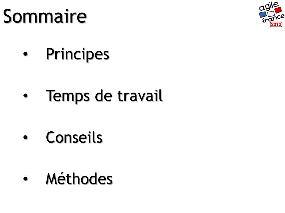 Principes Principes Temps de travail Temps de travail Conseils Conseils Méthodes MéthodesSommaire