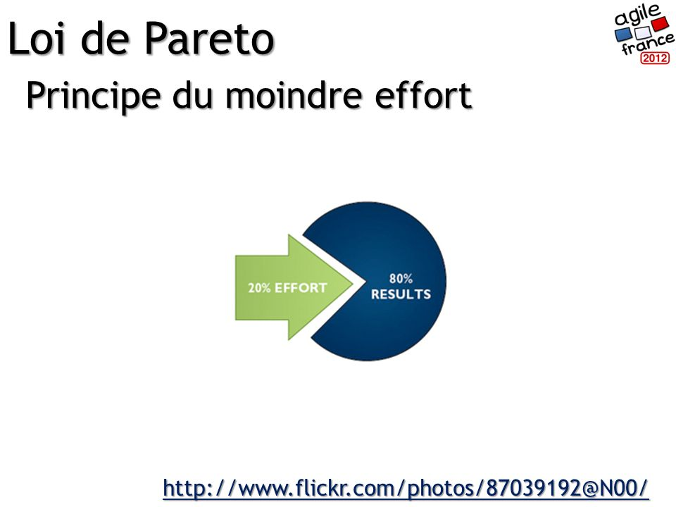 Principe du moindre effort Loi de Pareto http://www.flickr.com/photos/87039192@N00/