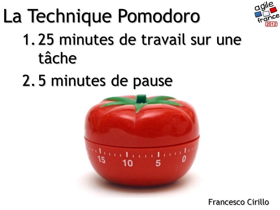 1.25 minutes de travail sur une tâche 2.5 minutes de pause La Technique Pomodoro Francesco Cirillo