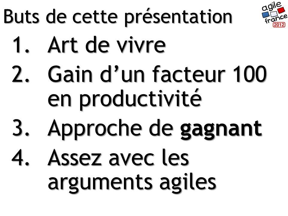 1.Art de vivre 2.Gain dun facteur 100 en productivité 3.Approche de gagnant 4.Assez avec les arguments agiles Buts de cette présentation