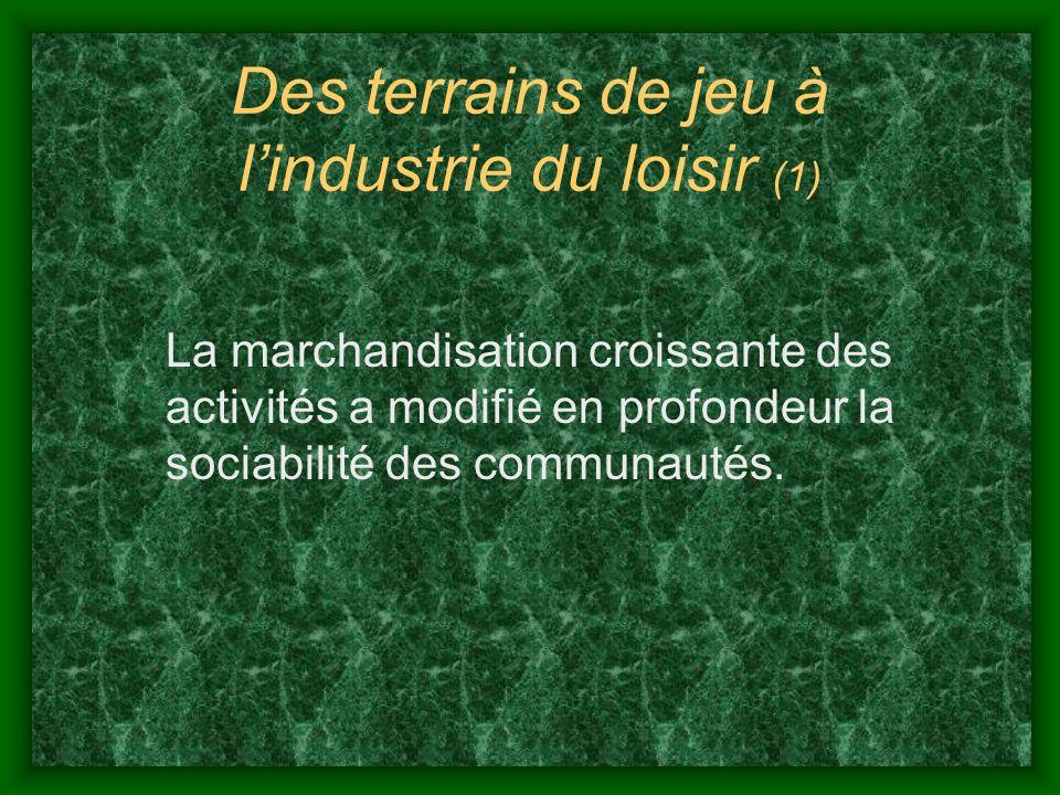 Des terrains de jeu à lindustrie du loisir (2) La déstructuration des rapports communautaires traditionnels a provoqué lémergence dinitiatives créatrices dune nouvelle socialité dans le communautaire et léconomie sociale