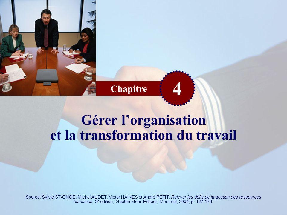Chapitre 4 Gérer lorganisation et la transformation du travail Source: Sylvie ST-ONGE, Michel AUDET, Victor HAINES et André PETIT, Relever les défis d