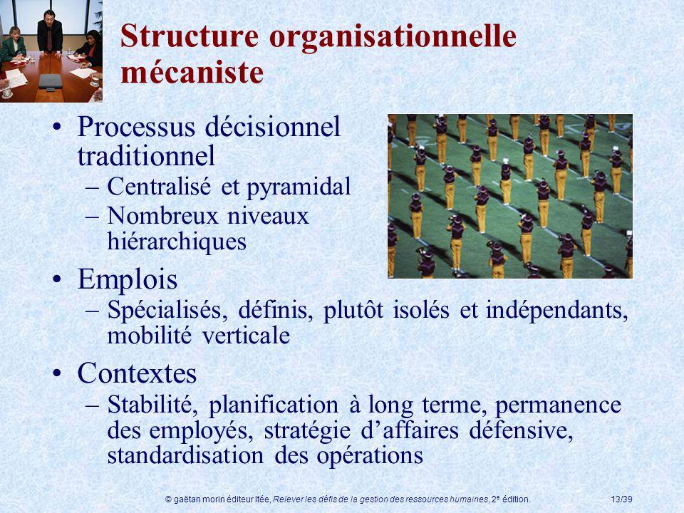 © gaëtan morin éditeur ltée, Relever les défis de la gestion des ressources humaines, 2 e édition.13/39 Structure organisationnelle mécaniste Processu