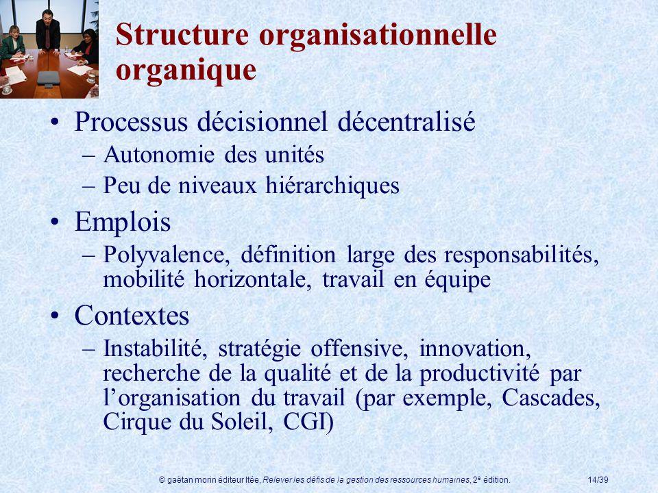 © gaëtan morin éditeur ltée, Relever les défis de la gestion des ressources humaines, 2 e édition.14/39 Structure organisationnelle organique Processu