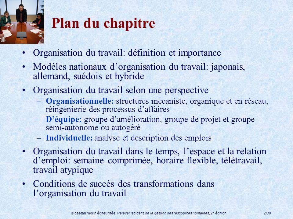 © gaëtan morin éditeur ltée, Relever les défis de la gestion des ressources humaines, 2 e édition.2/39 Plan du chapitre Organisation du travail: défin
