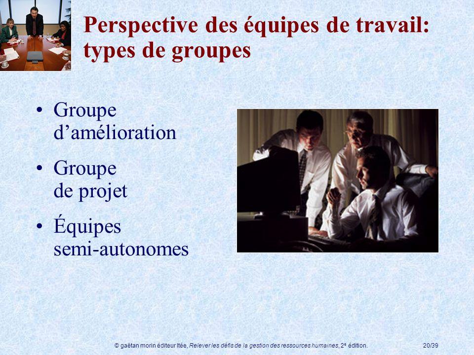 © gaëtan morin éditeur ltée, Relever les défis de la gestion des ressources humaines, 2 e édition.20/39 Perspective des équipes de travail: types de g