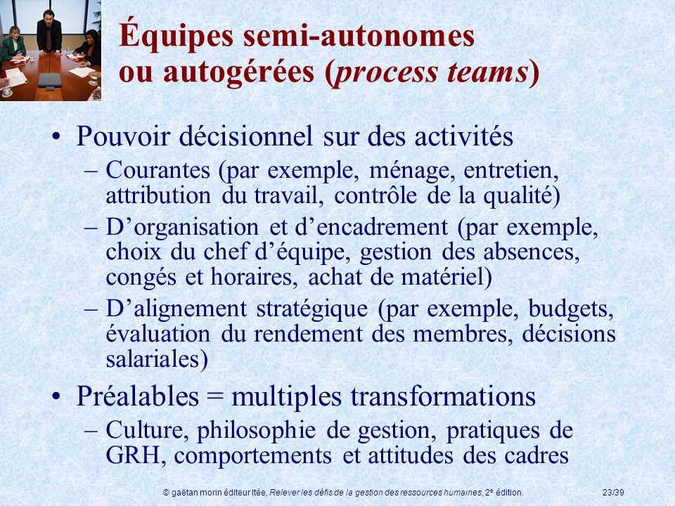 © gaëtan morin éditeur ltée, Relever les défis de la gestion des ressources humaines, 2 e édition.23/39 Équipes semi-autonomes ou autogérées (process