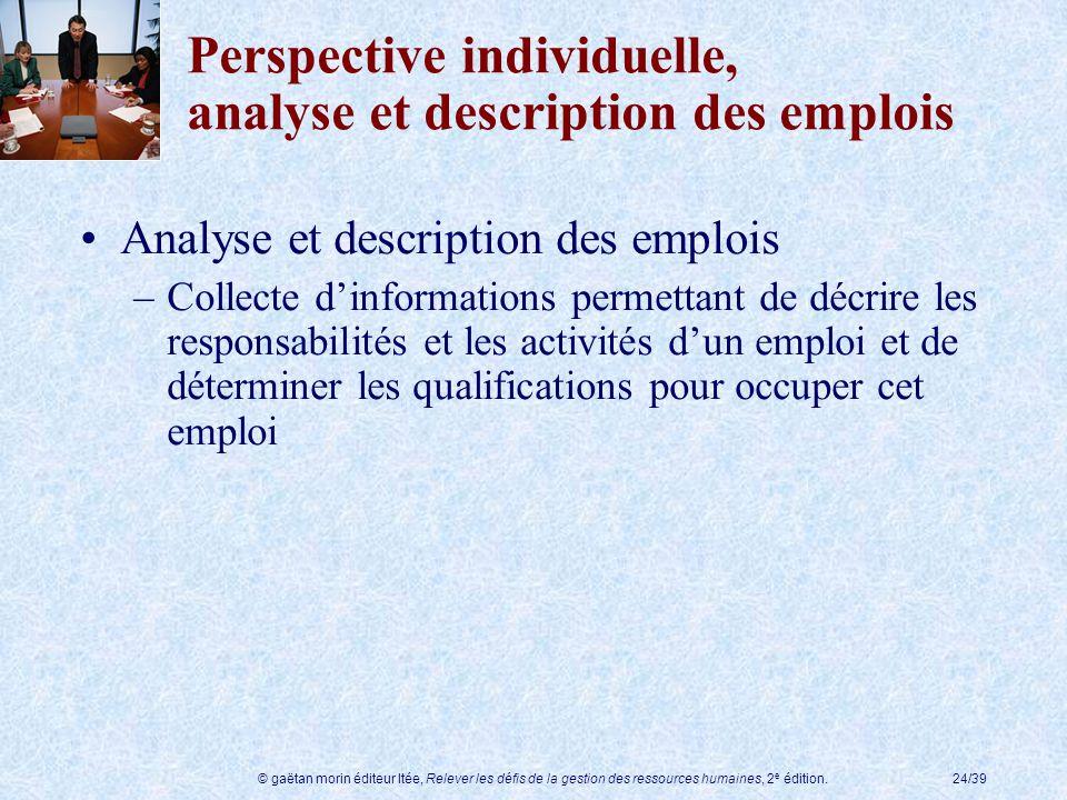 © gaëtan morin éditeur ltée, Relever les défis de la gestion des ressources humaines, 2 e édition.24/39 Perspective individuelle, analyse et descripti