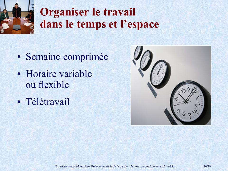 © gaëtan morin éditeur ltée, Relever les défis de la gestion des ressources humaines, 2 e édition.26/39 Organiser le travail dans le temps et lespace