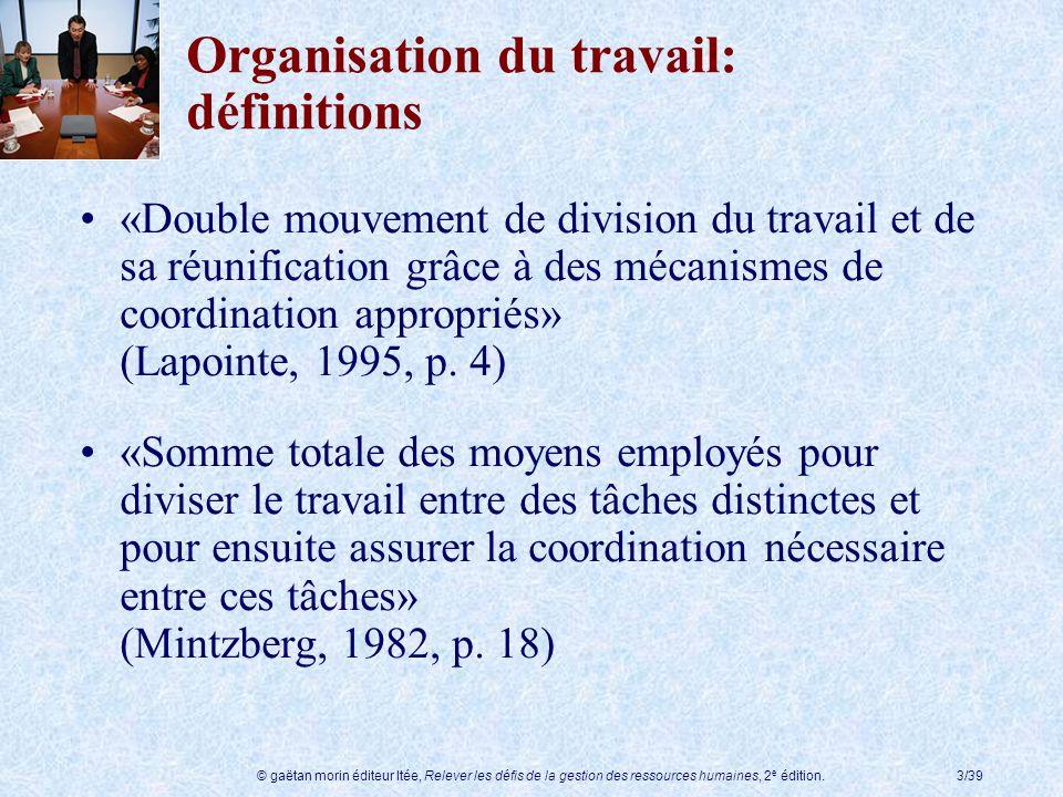 © gaëtan morin éditeur ltée, Relever les défis de la gestion des ressources humaines, 2 e édition.3/39 Organisation du travail: définitions «Double mo