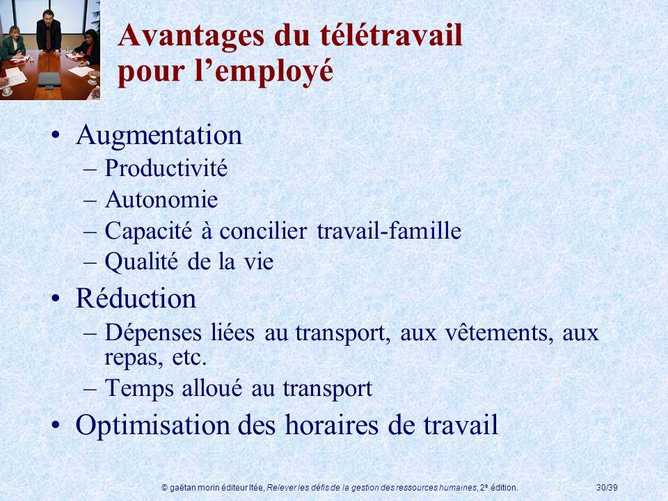 © gaëtan morin éditeur ltée, Relever les défis de la gestion des ressources humaines, 2 e édition.30/39 Avantages du télétravail pour lemployé Augment