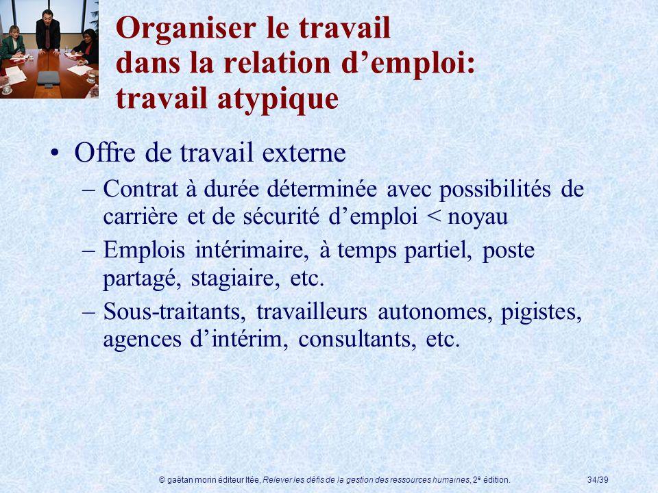 © gaëtan morin éditeur ltée, Relever les défis de la gestion des ressources humaines, 2 e édition.34/39 Organiser le travail dans la relation demploi: