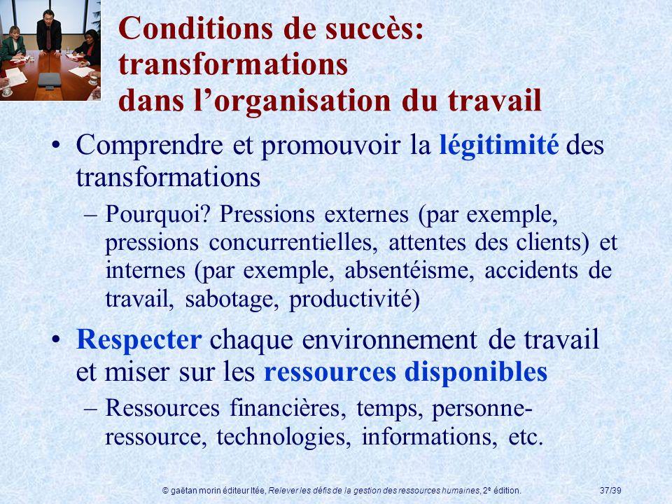 © gaëtan morin éditeur ltée, Relever les défis de la gestion des ressources humaines, 2 e édition.37/39 Conditions de succès: transformations dans lor