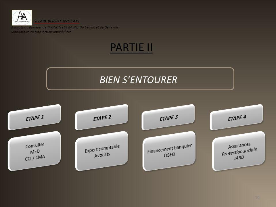 BIEN SENTOURER 10 PARTIE II SELARL BERSOT AVOCATS Avocats au Barreau de THONON LES BAINS, Du Léman et du Genevois Mandataire en transaction immobilièr