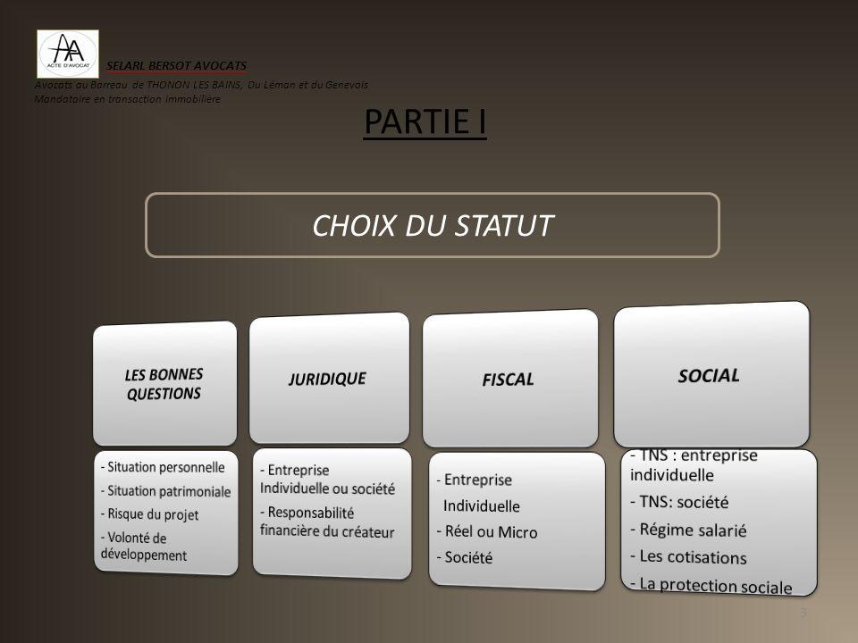 PARTIE I 3 CHOIX DU STATUT SELARL BERSOT AVOCATS Avocats au Barreau de THONON LES BAINS, Du Léman et du Genevois Mandataire en transaction immobilière