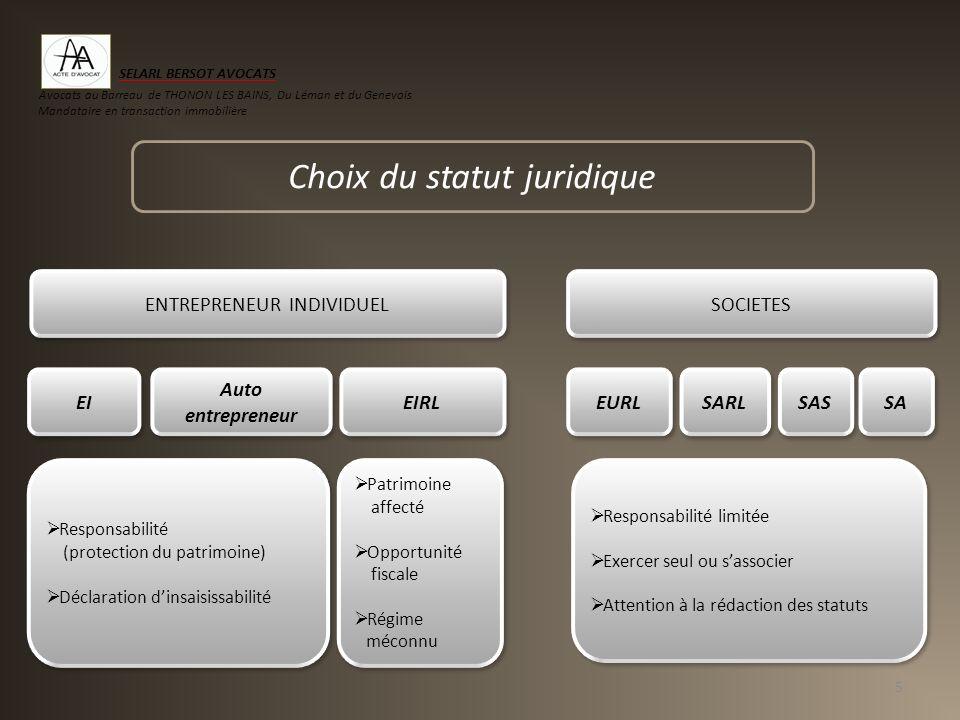 La forme juridique Comparatif des différentes formes dentreprises 6 Entreprise individuelle EIRLEURL (1)SARLSA SAS SASU (2) Nombre de personnes111 1 7 1 Responsabilité limitéeNonOui Apport minimalNéant 1 1 37.000 1 Régime de droit commun Impôt sur le revenu Impôt sur les sociétés Régime sur option/ Impôt sur les sociétés Impôt sur le revenu Régime social du dirigeant majoritaire Régime des indépendants (RSI) Régime des indépendants (RSI) Régime des indépendants (RSI) Régime des indépendants (RSI) Régime des salariés cadres (3) (1) SARL à associé unique (2 ) SAS à associé unique (3) Lorsque la société a opté pour limpôt sur le revenu, le dirigeant relève du régime social des indépendants (RSI) SELARL BERSOT AVOCATS Avocats au Barreau de THONON LES BAINS, Du Léman et du Genevois Mandataire en transaction immobilière