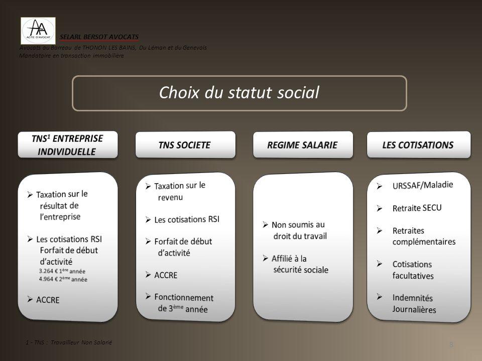 Choix du statut social 8 1 - TNS : Travailleur Non Salarié SELARL BERSOT AVOCATS Avocats au Barreau de THONON LES BAINS, Du Léman et du Genevois Manda