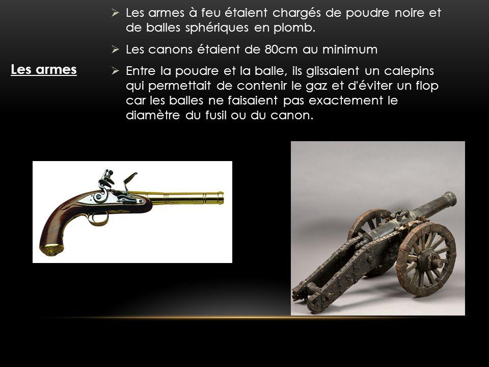 Les armes Les armes à feu étaient chargés de poudre noire et de balles sphériques en plomb. Les canons étaient de 80cm au minimum Entre la poudre et l