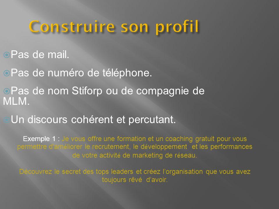Construire son profil Pas de mail. Pas de numéro de téléphone. Pas de nom Stiforp ou de compagnie de MLM. Un discours cohérent et percutant. Exemple 1