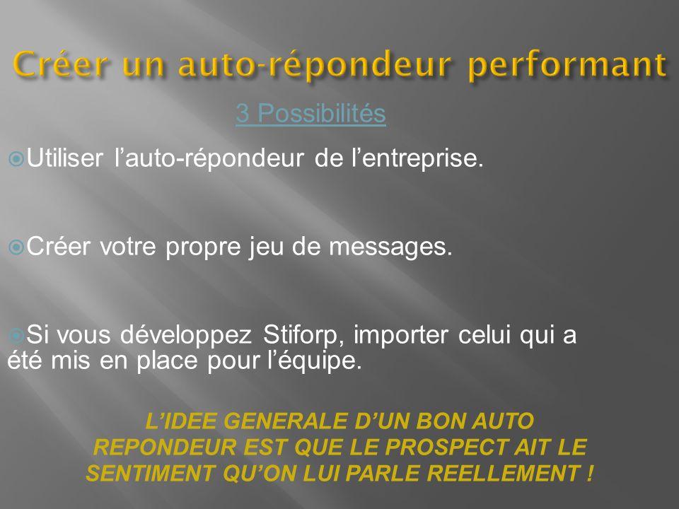Créer un auto-répondeur performant 3 Possibilités Utiliser lauto-répondeur de lentreprise. Créer votre propre jeu de messages. Si vous développez Stif