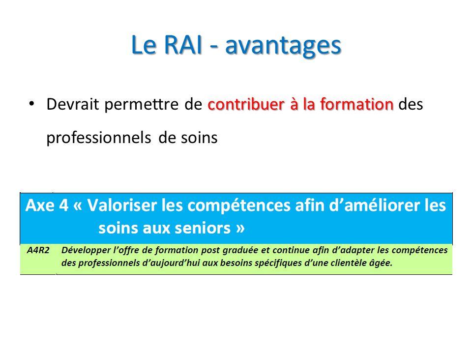 Le RAI - avantages contribuer à la formation Devrait permettre de contribuer à la formation des professionnels de soins