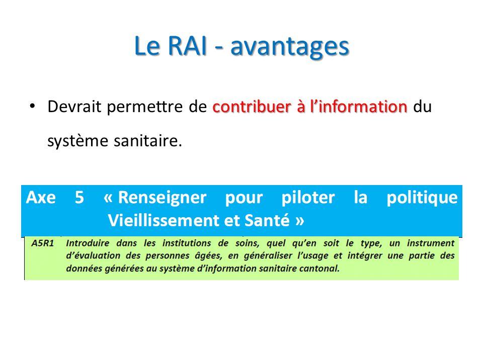 Le RAI - avantages contribuer à linformation Devrait permettre de contribuer à linformation du système sanitaire.