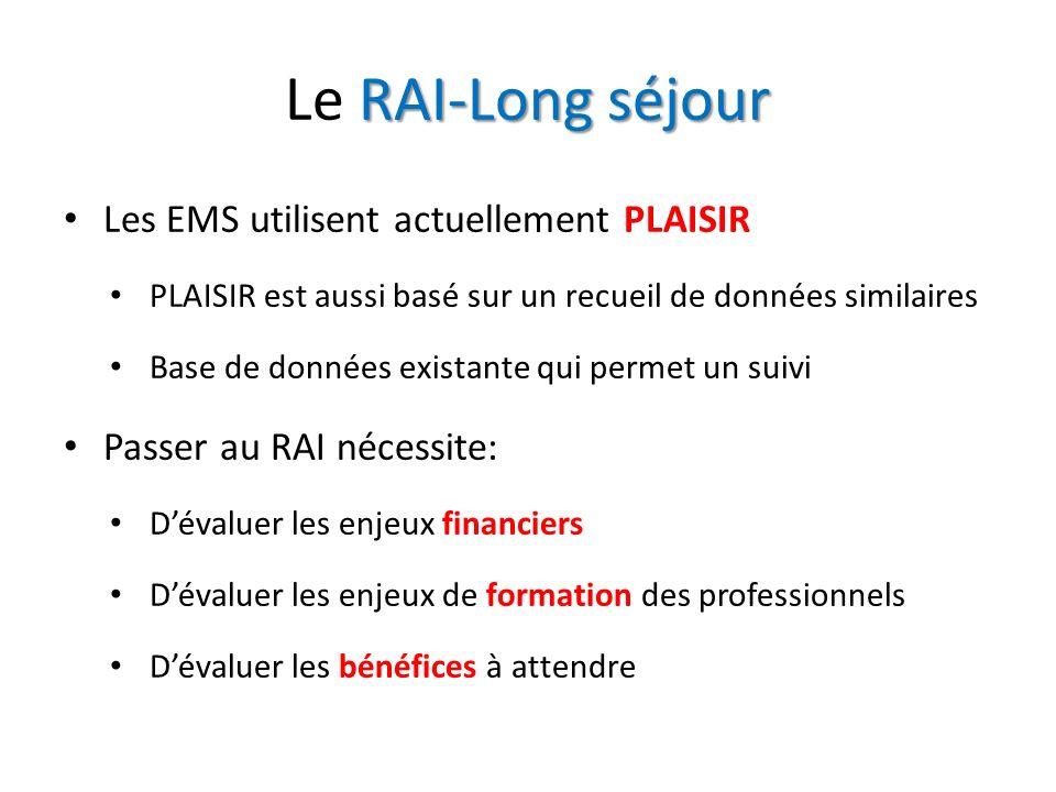 RAI-Long séjour Le RAI-Long séjour Les EMS utilisent actuellement PLAISIR PLAISIR est aussi basé sur un recueil de données similaires Base de données