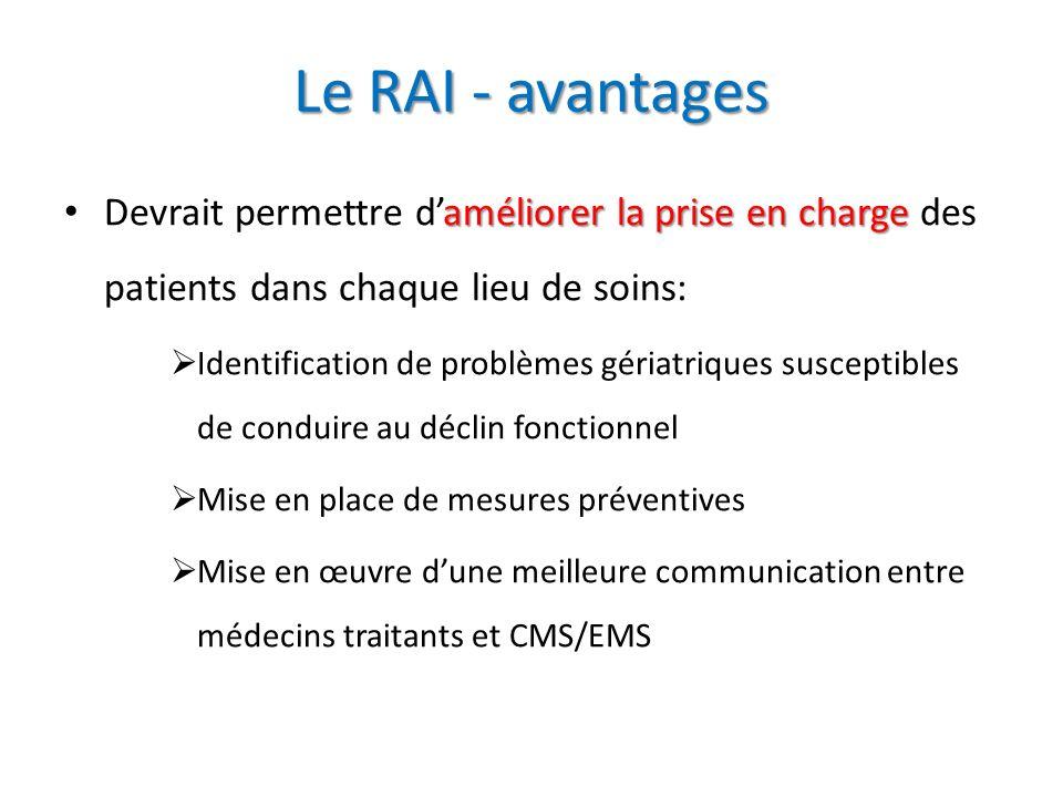 Le RAI - avantages améliorer la prise en charge Devrait permettre daméliorer la prise en charge des patients dans chaque lieu de soins: Identification