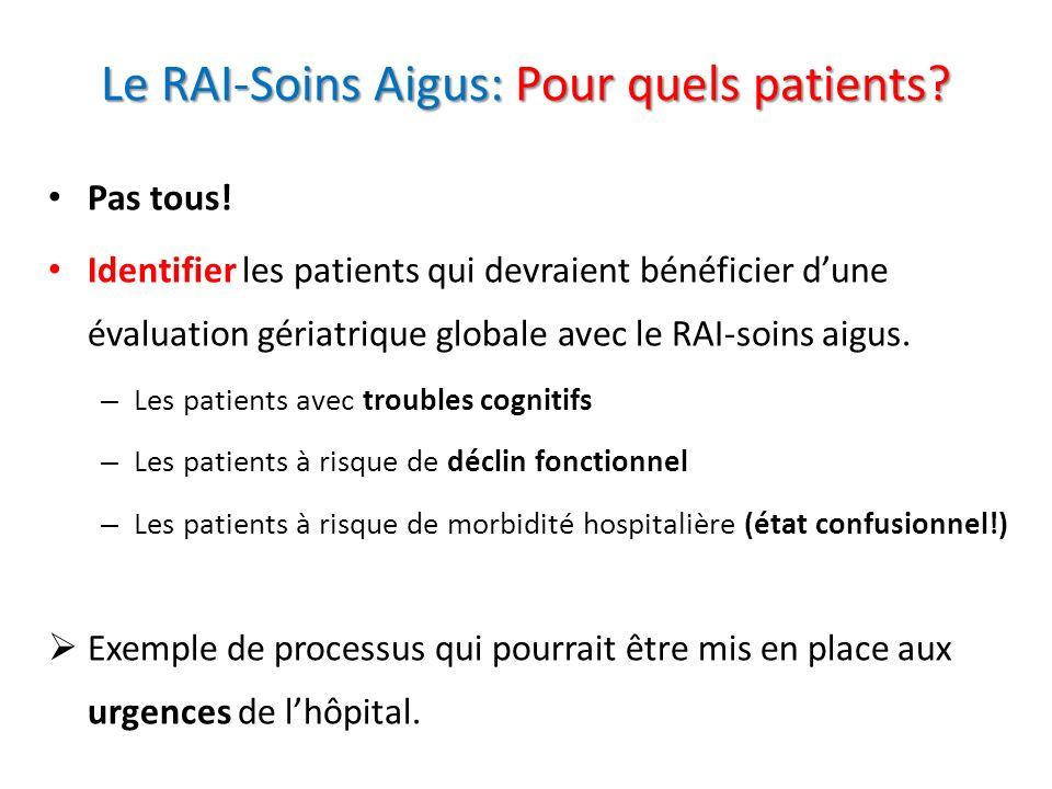 Le RAI-Soins Aigus: Pour quels patients? Pas tous! Identifier les patients qui devraient bénéficier dune évaluation gériatrique globale avec le RAI-so