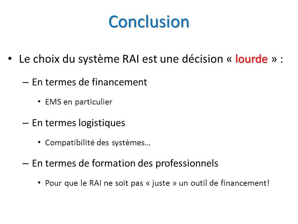 Conclusion lourde Le choix du système RAI est une décision « lourde » : – En termes de financement EMS en particulier – En termes logistiques Compatib