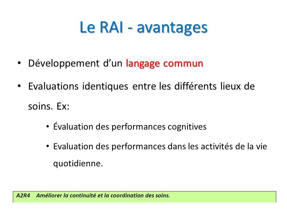 Le RAI - avantages langage commun Développement dun langage commun Evaluations identiques entre les différents lieux de soins. Ex: Évaluation des perf