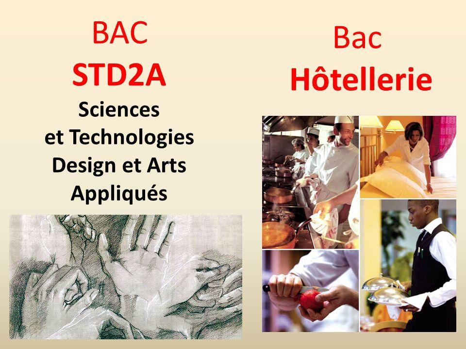 BAC STD2A Sciences et Technologies Design et Arts Appliqués Bac Hôtellerie