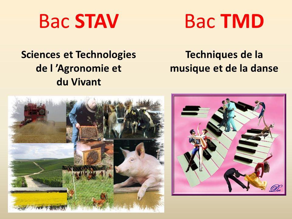Bac STAV Sciences et Technologies de l Agronomie et du Vivant Bac TMD Techniques de la musique et de la danse