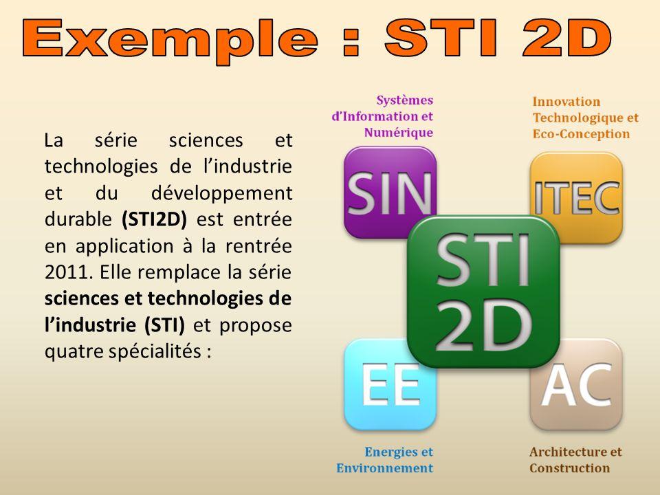 La série sciences et technologies de lindustrie et du développement durable (STI2D) est entrée en application à la rentrée 2011. Elle remplace la séri