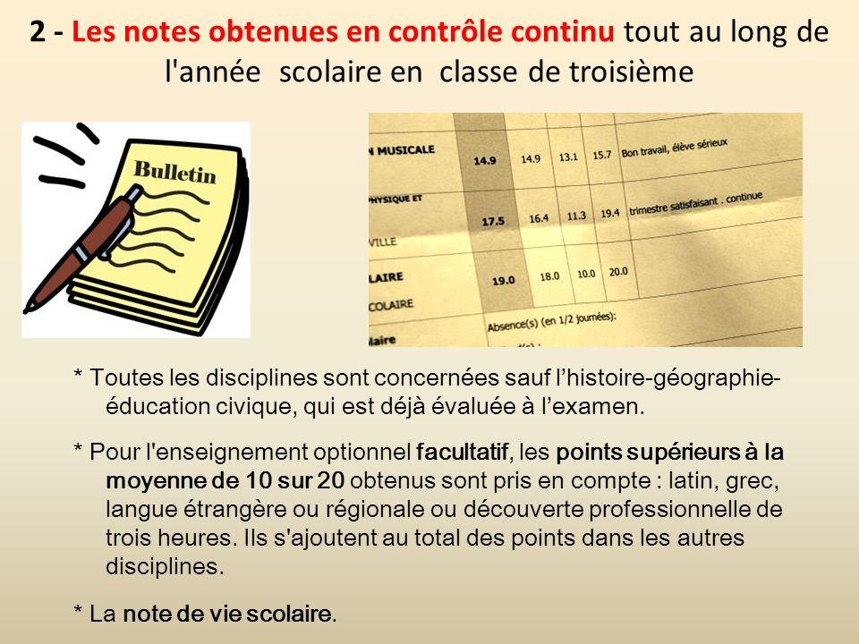 2 - Les notes obtenues en contrôle continu tout au long de l'année scolaire en classe de troisième * Toutes les disciplines sont concernées sauf lhist