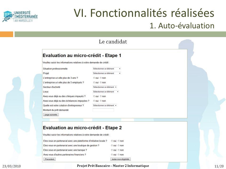 VI. Fonctionnalités réalisées 1. Auto-évaluation Le candidat Projet Prêt Bancaire – Master 2 Informatique 23/03/201011/20