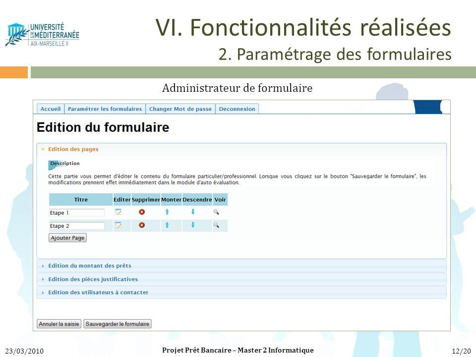 VI. Fonctionnalités réalisées 2. Paramétrage des formulaires Administrateur de formulaire Projet Prêt Bancaire – Master 2 Informatique 23/03/201012/20
