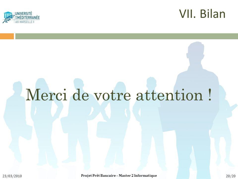 Merci de votre attention ! Projet Prêt Bancaire – Master 2 Informatique 23/03/201020/20 VII. Bilan