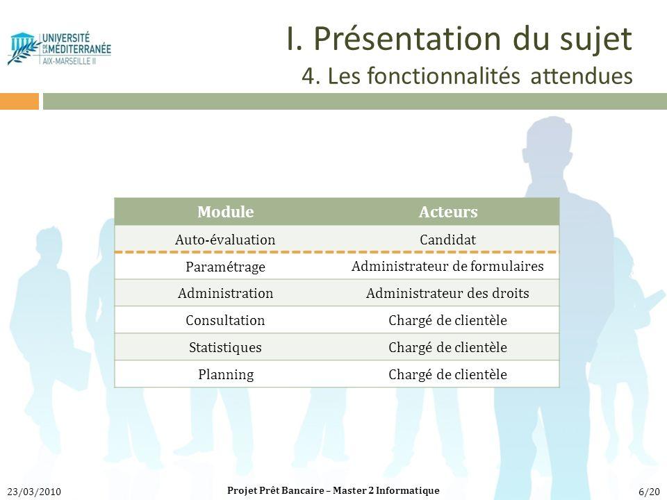 I. Présentation du sujet 4. Les fonctionnalités attendues ModuleActeurs Auto-évaluationCandidat Paramétrage Administrateur de formulaires Administrati