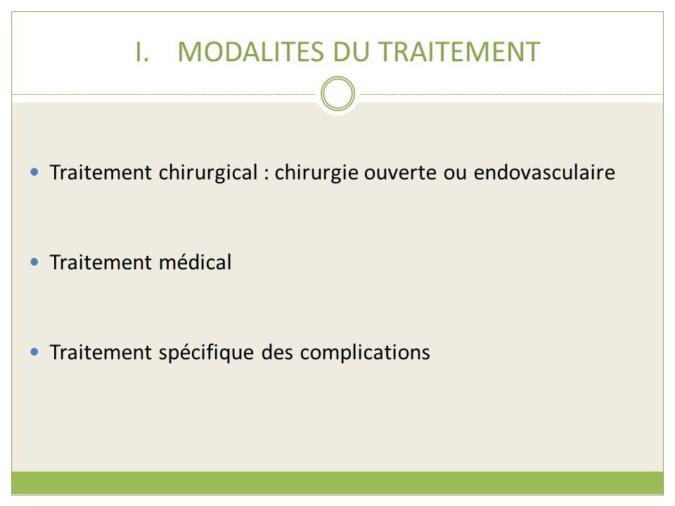 I.MODALITES DU TRAITEMENT Traitement chirurgical : chirurgie ouverte ou endovasculaire Traitement médical Traitement spécifique des complications