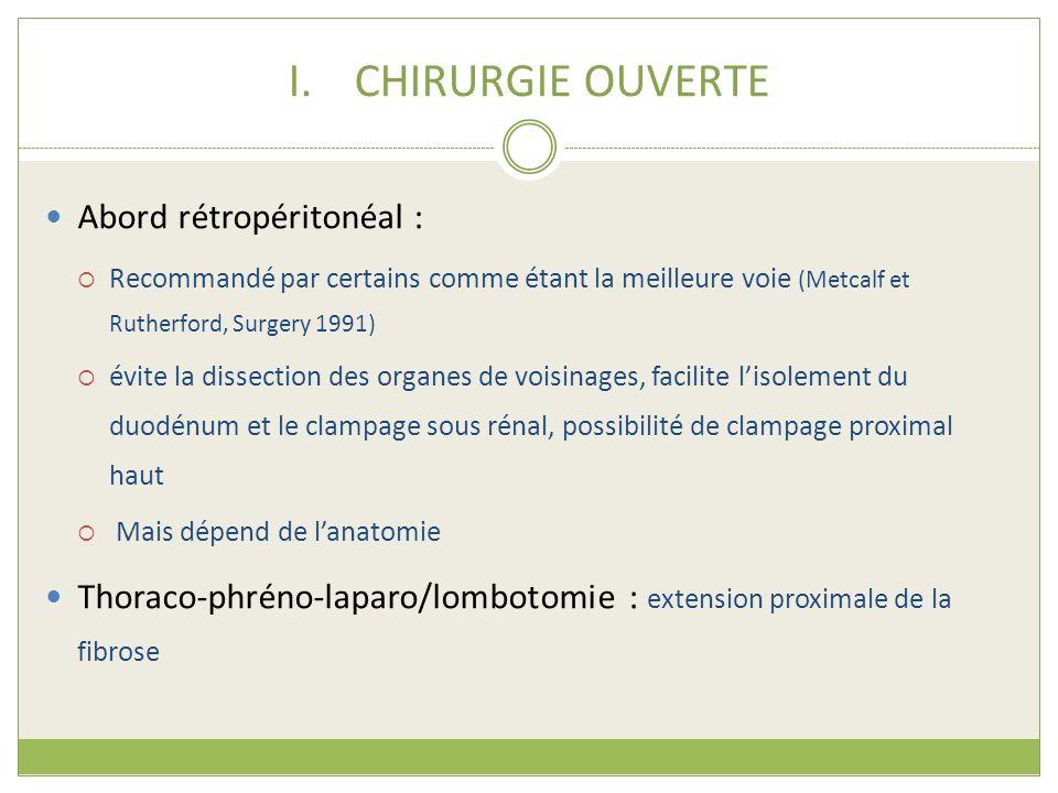 I.CHIRURGIE OUVERTE Abord rétropéritonéal : Recommandé par certains comme étant la meilleure voie (Metcalf et Rutherford, Surgery 1991) évite la disse