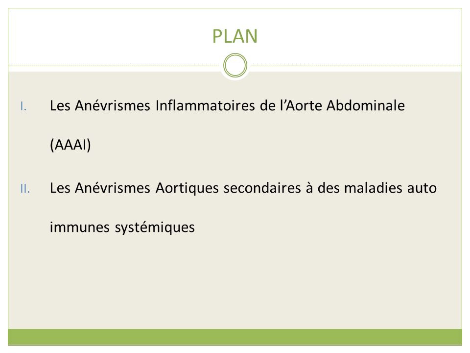 PLAN I. Les Anévrismes Inflammatoires de lAorte Abdominale (AAAI) II. Les Anévrismes Aortiques secondaires à des maladies auto immunes systémiques