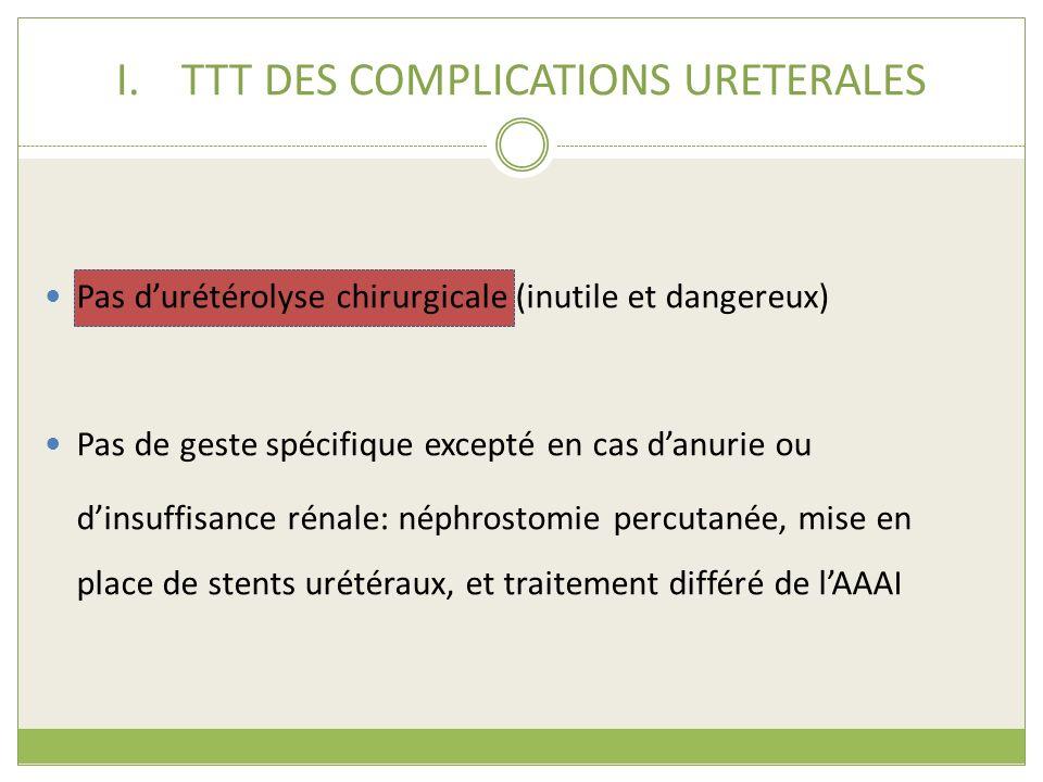 I.TTT DES COMPLICATIONS URETERALES Pas durétérolyse chirurgicale (inutile et dangereux) Pas de geste spécifique excepté en cas danurie ou dinsuffisanc
