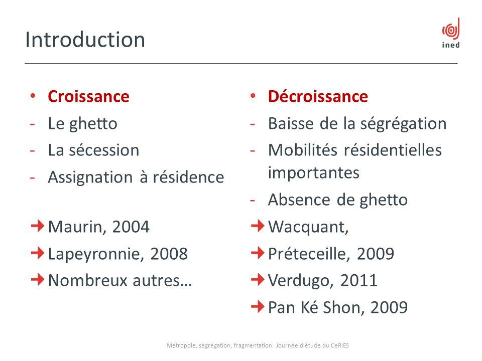 Introduction Croissance -Le ghetto -La sécession -Assignation à résidence Maurin, 2004 Lapeyronnie, 2008 Nombreux autres… Décroissance -Baisse de la s