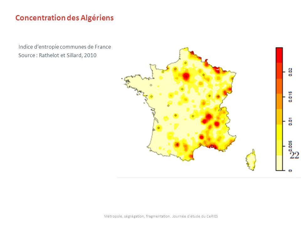 Concentration des Algériens Indice dentropie communes de France Source : Rathelot et Sillard, 2010 Métropole, ségrégation, fragmentation. Journée détu