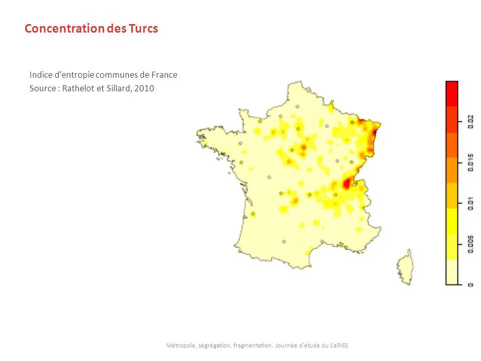 Concentration des Turcs Indice dentropie communes de France Source : Rathelot et Sillard, 2010 Métropole, ségrégation, fragmentation. Journée détude d
