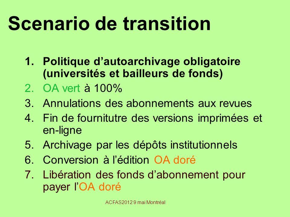 Scenario de transition 1.Politique dautoarchivage obligatoire (universités et bailleurs de fonds) 2.OA vert à 100% 3.Annulations des abonnements aux r