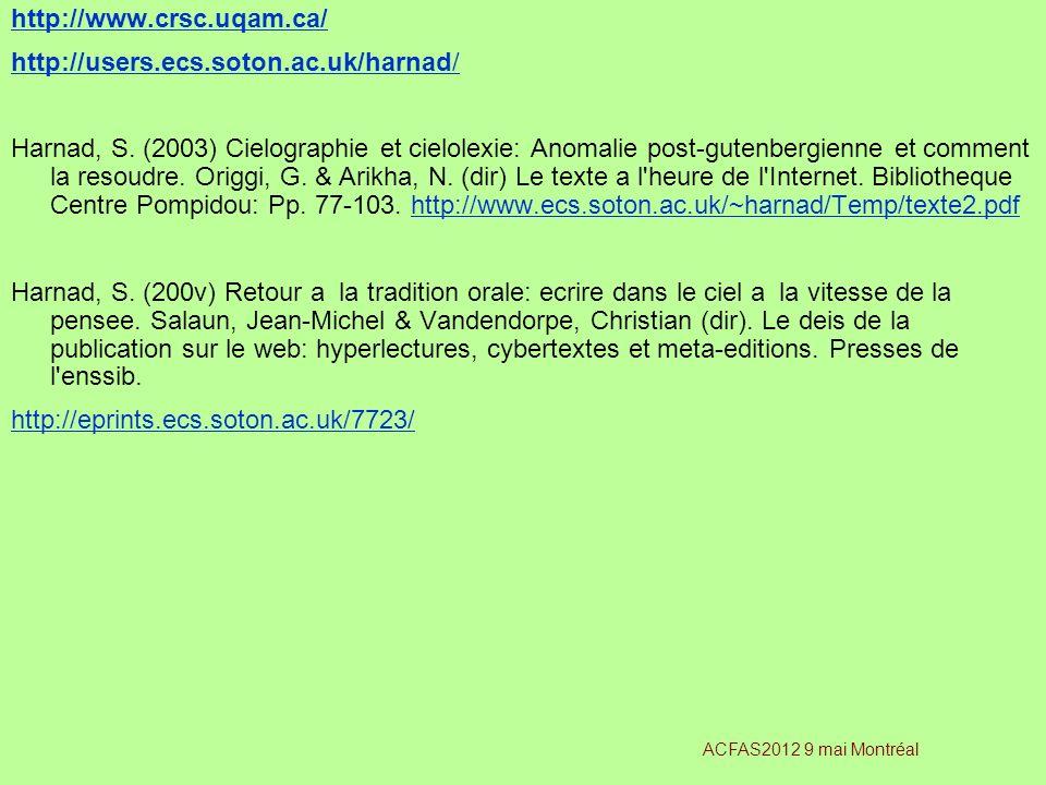 http://www.crsc.uqam.ca/ http://users.ecs.soton.ac.uk/harnad/ Harnad, S. (2003) Cielographie et cielolexie: Anomalie post-gutenbergienne et comment la