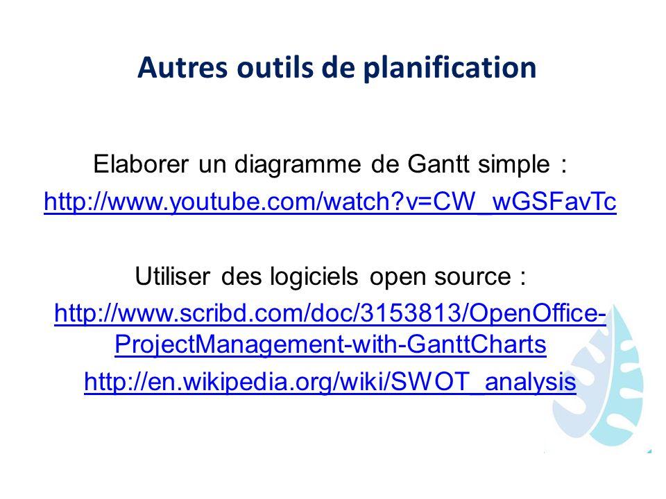 Autres outils de planification Elaborer un diagramme de Gantt simple : http://www.youtube.com/watch?v=CW_wGSFavTc Utiliser des logiciels open source :