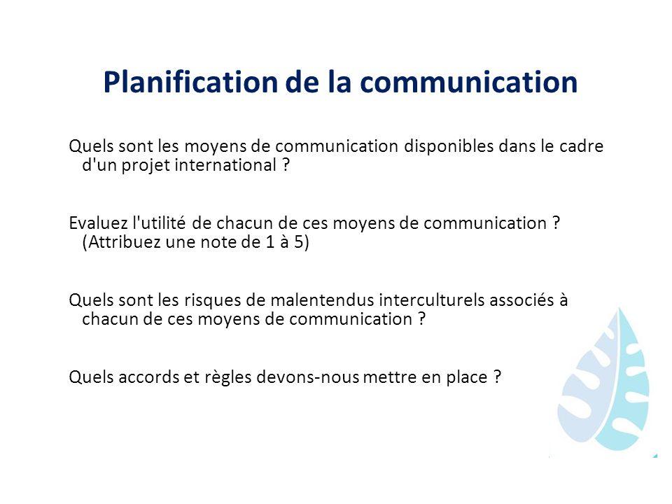 Planification de la communication Quels sont les moyens de communication disponibles dans le cadre d'un projet international ? Evaluez l'utilité de ch